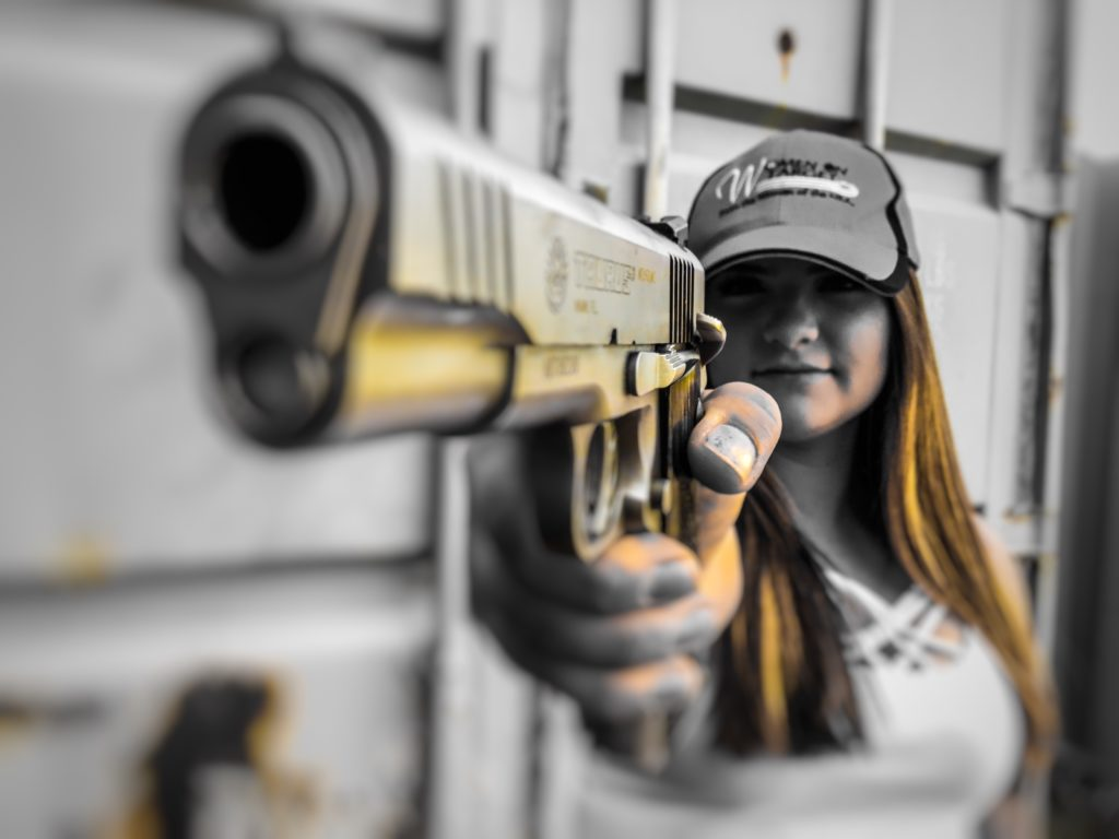 Anna with her 45ACP - women on target, ladies only concealed carry permit in Elko nevada